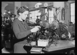 "Coil Winder, RCA Victor Company, Camden, N.J., 1937. The caption for this Federal Works Progress Administration photograph by Lewis Hine reads, ""If a girl has good fingers for this work, she can become expert on this job in three weeks. If she is not naturally deft, she never learns."" (Credit: U.S. National Archives and Records Administration)"