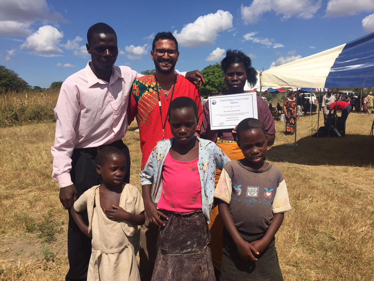 Peace Corps volunteer and MPA student Samir El-Gindi builds a community center in Malawi